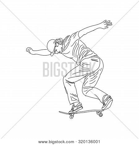A Skater Style. Skateboard Vector Illustration. Street Sports, Skateboarding, Extreme. Hand Drawn Co