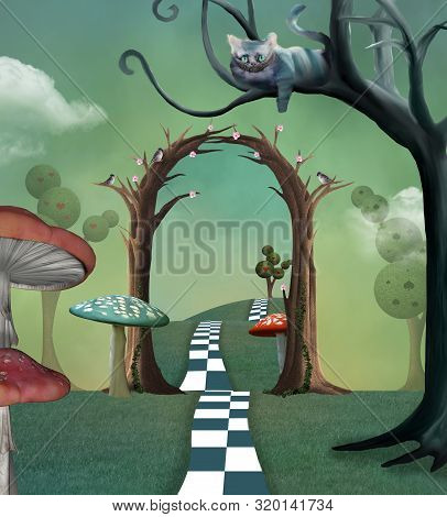 Wonderland Series - Surreal Countryside View With A Secret  Passage And Cheshire Cat - 3d Illustrati