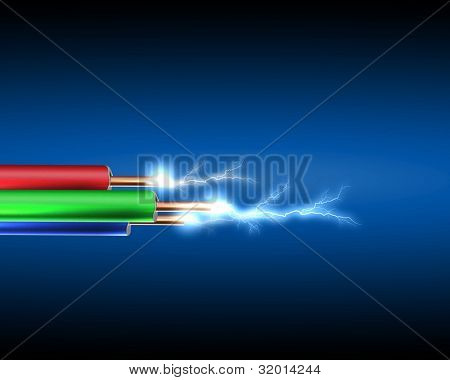 Electric cord with electricity sparkls as symbol of power