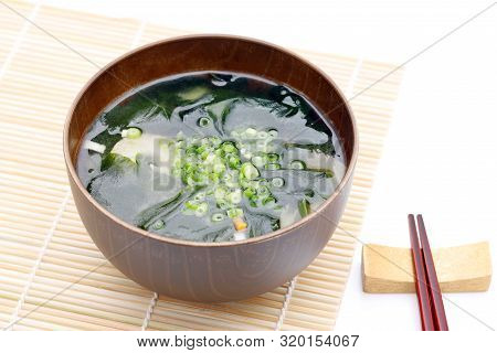 Japanese Food, Miso Soup Of Seaweed Wakame On A Bowl