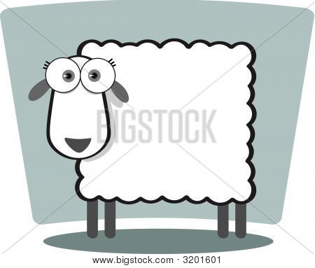 Cartoon Sheep In Black And White
