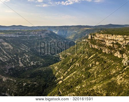 Aerial View Of Gorges La Vis Valley Cutting Through Causse Du Larzac In Cevennes National Park, Sout