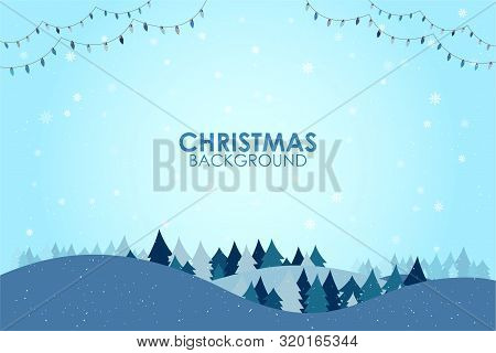Winter Season Flat Design Landscape With Christmas Tree Happy New Year Greeting Card Background With