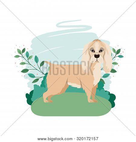 Cute Cocker Spaniel Ingles Dog With Background Landscape Vector Illustration Design