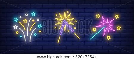 Firework And Sparklers Neon Signs Set. Holiday, Anniversary, Pyrotechnics Design. Night Bright Neon