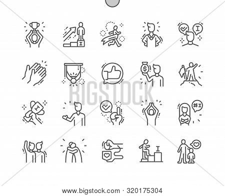 Praised And Satisfied People Well-crafted Pixel Perfect Vector Thin Line Icons 30 2x Grid For Web Gr