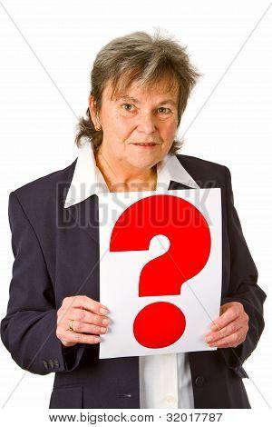 Female Senior Holding Question Mark