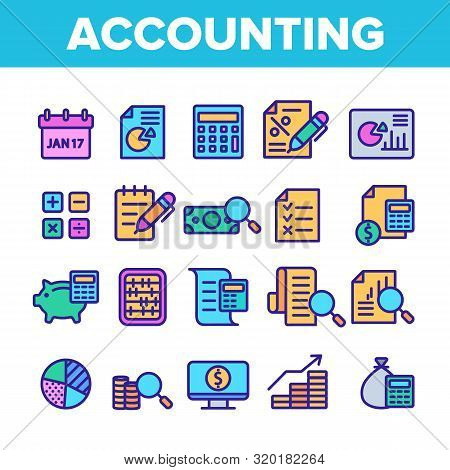 Color Accounting Elements Vector Icons Set Thin Line. Magnifier With Money Bank Note And Report Or R