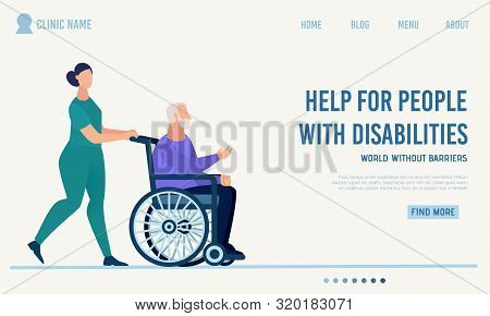 Clinic Landing Page Offer Help For Disabled People. Qualified And Professional Medical Support Assis