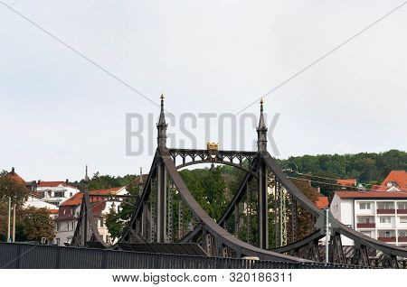 View To Historic Iron Cantilever Bridge Of Beginning Of The 20th Century In Ulm, Germany