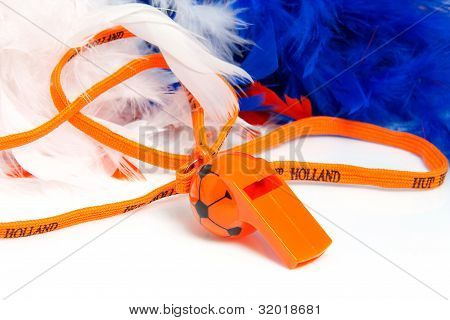 Orange Flute In Shape Of Soccer Ball With Accessories For Dutch Game