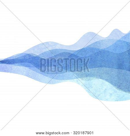 Watercolor Transparent Wave Blue Colored Background. Watercolour Hand Painted Waves Illustration. Ba