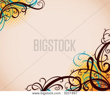 vector background with swirls and halftone pattern poster