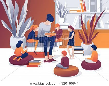 Cartoon Woman Read Book, Children Sit Listen Vector Illustration. Library Bookcase Bookshelf. Litera