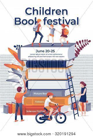 Children Book Fectival Banner. Cartoon Children On Book Stack Vector Illustration. Bookshop Bookstor