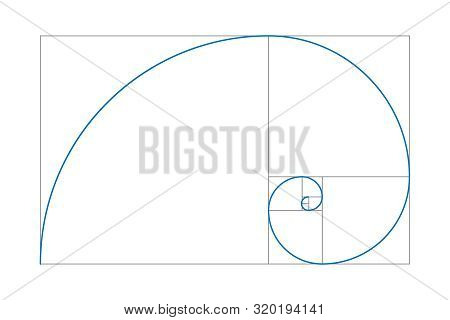 Golden Ratio. Fibonacci Number. Geometric Shapes. Logo. Vector Icon. Vector Illustration