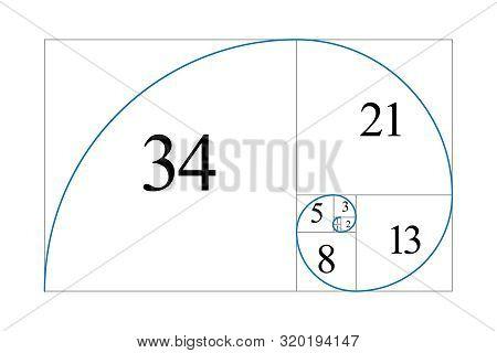 Golden Ratio. Fibonacci Number. Geometric Shapes. Logo. Vector Icon. Abstract Vector Background.