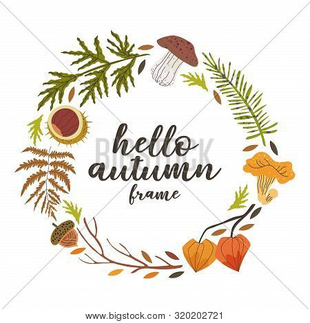 Hello Autumn Round Frame For Pillow, Mug, Greeting Card, T-shirt And Other Decor Designs With Floral