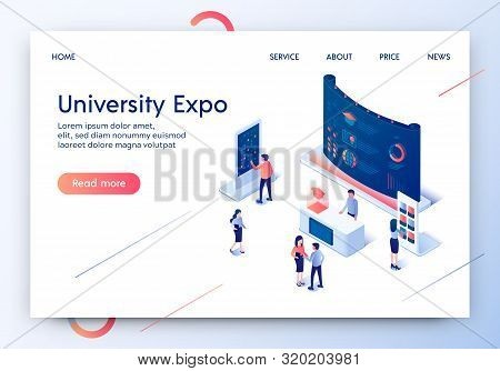 University Expo Horizontal Banner. People Standing At Promotional Stands. Demonstration Panel, Promo