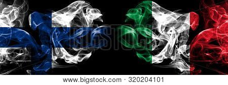 Finland, Finnish, Italy, Italian Competition Thick Colorful Smoky Flags. European Football Qualifica