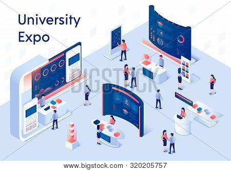 University Expo Stands. Exhibition Demonstration Stand And Trade Stalls With People. Educational Fai