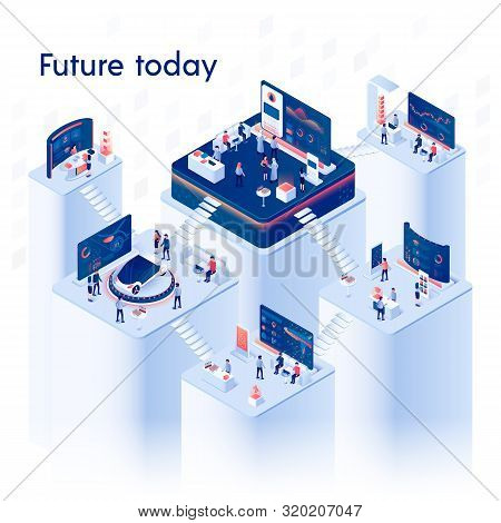 Future Today Square Banner. Multistory Exhibition Center Composition On White Background With Expo S