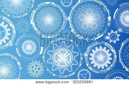 Abstract Futuristic Circuit Board.  Hi-tech Digital Technology On Blue Background.