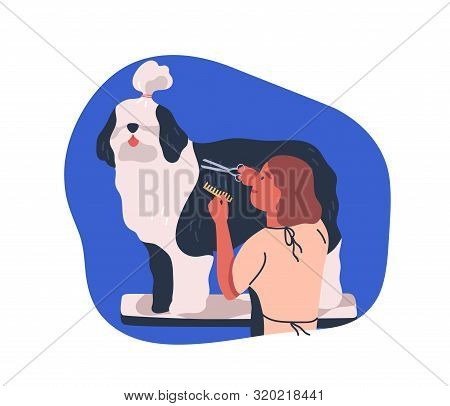 Grooming Service Flat Vector Illustration. Dog Groomer Cutting Animal Fur With Scissors. Girl Care F