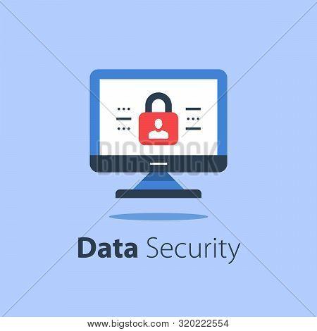 Online Security, Computer Monitor And Padlock, Safe Internet Access, Antivirus Software