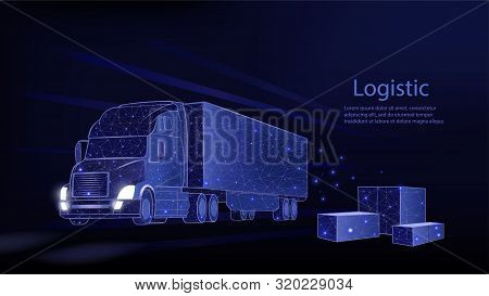Truck. Abstract 3d Heavy Lorry Van. Isolated On Blue. Transportation Vehicle, Delivery Transport, Ca