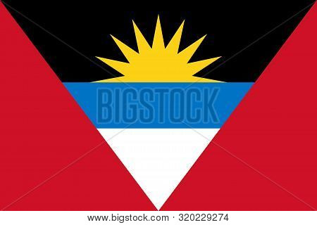 Flag Of Antigua And Barbuda Vector Illustration, Worlds Flags Collection