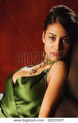 Portrait of Hispanic woman wearing sexy top