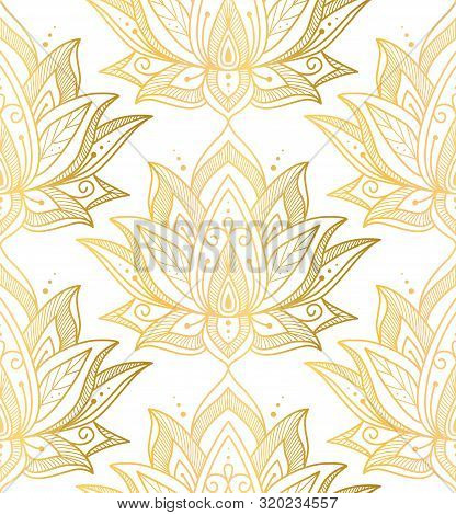 Indian Seamless Pattern Consisting Of Gilding Lotus Flowers. White Background. Vector Illustration.