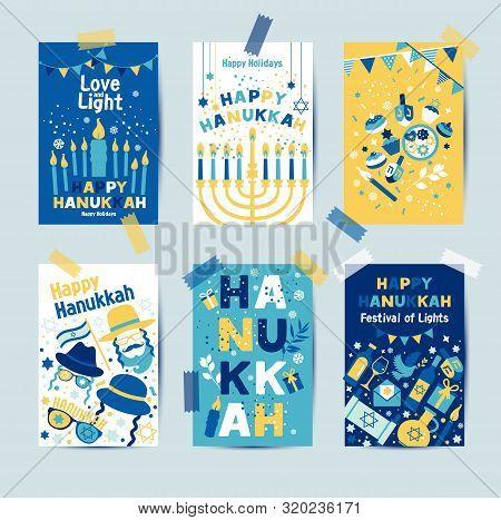 Set Of Colors Six Hanukkah Greeting Cards With Candles, Dreidel, Jewish Star, Oil, Menorah, Donut, C