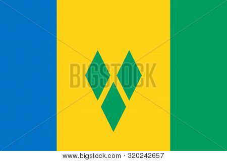 Flag Of Saint Vincent And The Grenadines Vector Illustration, Worlds Flags Collection
