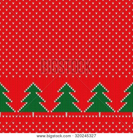 Winter Holiday Seamless Knitted Pattern With A Christmas Trees. Nordic Sweater Design. Wool Knit Tex