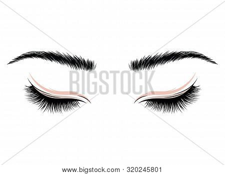 Logo Eyelashes. The Eyes Of The Girl With Makeup. Vector Illustration Of Eyebrows And Eyelashes. Fig