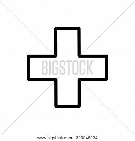 Flat Line Minimal Cross Icon. Simple Vector Cross Icon. Isolated Cross Icon For Various Projects.