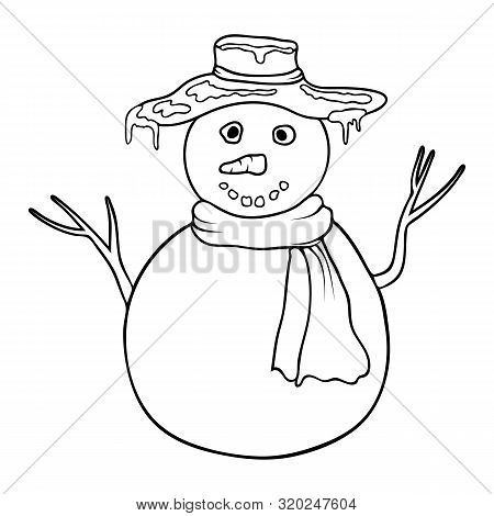 Cute Cartoon Coloring Snowman. Coloring Book Or Page With Snowman. Outline Snowman Isolated On White