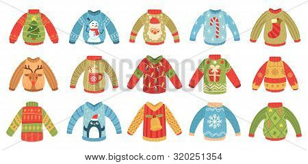 Cartoon Christmas Ugly Sweaters. Xmas Holidays Party Jumper, Knitted Winter Sweater With Santa And X