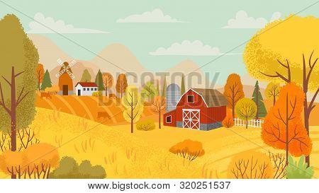 Autumn Farming Landscape. Country Farm, Yellow Trees And Farmhouse Field. Autumnal Rural Village Cou