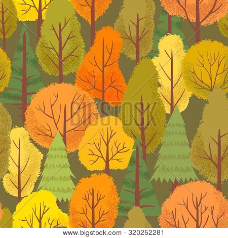 Seamless Autumn Forest Trees Pattern. Colorful Forest Tree, Outdoor Park Plants And Minimalist Flora