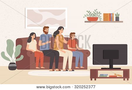 Family Watching Television Together. Happy People Watch Tv In Living Room, Young Family Watching Mov