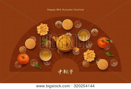 Mid Autumn Festival Design. Teapot, Tea Cups, Tangerines, Flowers And Moon Cakes. Top View Vector Il