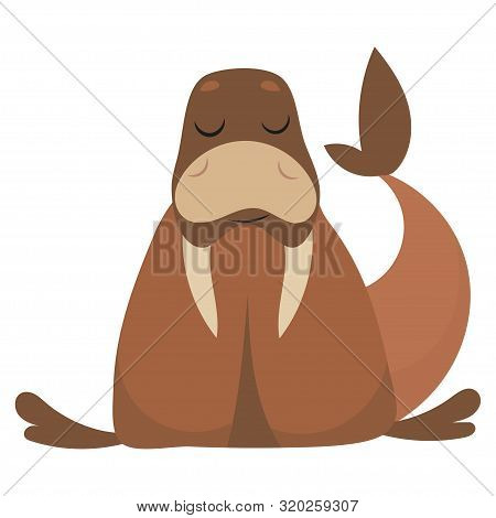 Cartoon Walrus Vector Illustration Of A Walrus. Drawing Animal For Children. Zoo For Kids.