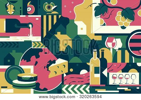 Background Of Winemaking, Cheese And Grape. Concept Modern Fruit Alcohol Development And Tasting Dri