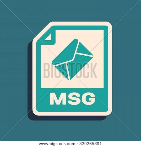 Green Msg File Document. Download Msg Button Icon Isolated On Blue Background. Msg File Symbol. Long