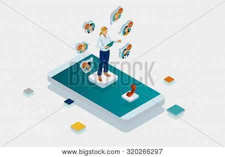 Isometric Communication Support Phone Operator, Call Center And Customer Service Help Desk. Service