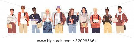 Group Of Multicultural Students Flat Vector Illustration. Young Girls And Boys Holding Books And Lap