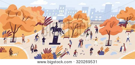 People walking in autumn park flat vector illustration. Citizens strolling in city center recreational area. Fall season nature and outdoor activities. Orange trees and building on horizon landscape. poster